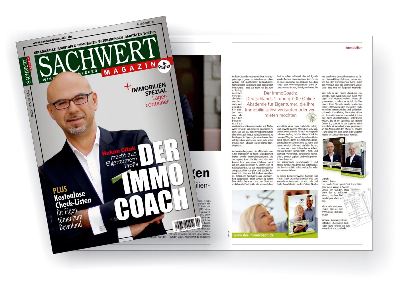 Der ImmoCoach Im Sachwert Magazin - Titelseite - Hakan Citak